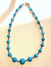 """18"""" Faux Turquoise Stone Necklace - Graduated Round Beads"""