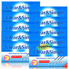 30 Clear & Simple HCG Pregnancy Test Strips 20miU/ml of Sensitivity Tests