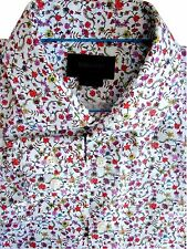Duchamp london chemise homme 16 m blanc multicolore fleurs coupe ajustée