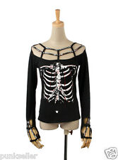Punk Rave Black steampunk Rock Skeleton Print T-shirt Women Visual kei Top T34