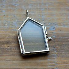 Silver House Two-Sided Glass Frame Pendant Hinged Locket Necklace Vintage Style