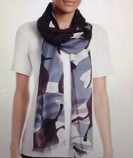 burberry Painted Camo Women's Scarf  Wool Silk 215x70cm