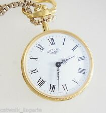 Rotary Women's Gold Tone Necklace Watch 14 Inch Chain Drop White Dial