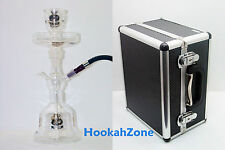 WHITE CLEAR GOLD Al Fakher AUTHENTIC ALL GLASS HOOKAH w/ METAL Screen Coal Tray