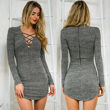 Sexy Women Lace Up Long Sleeved Elasticity Cotton Dresses Bodycon Mini Dress