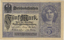 1917 5 MARK GERMANY CURRENCY GERMAN UNC BANKNOTE NOTE MONEY BANK BILL CASH WWI