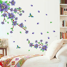 Purple Flower Rattan Birds Removable Vinyl Decal Wall Sticker Mural Room Decor