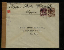 Straits  Settlements  , Singpore Rubber  co   censor cover to US          MS0221