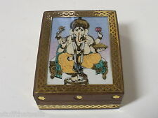 Ganesh Wood with Gemstone Inlay Box - Brass Trim
