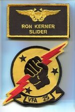 RON SLIDER KERNER TOP GUN MOVIE COSTUME US NAVY Emb Name Tag Squadron Patch Set