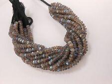 """9"""" Genuine Labradorite Rondelle Smooth Blue Flash Gemstone Beads 5.5mm"""