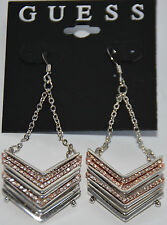 NWT Guess Silver & Rose-Gold-tone Metals-Clear Rhinestones Chevron Drop Earrings