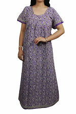 Indiatrendzs Womens Maxi Nighty Purple Printed Boho Cotton Nightwear Chest- 44""