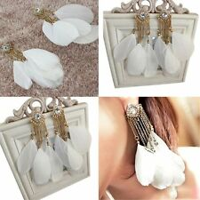 Chain Long Cute Charm White New Fashion Jewelry Dangle Feather Earrings