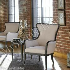 Elegant Black White ARM CHAIR Contemporary Classic Linen Wood Mahogany Luxe