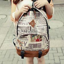 Women Canvas Newspaper Rucksack Satchel Shoulder School Bag Backpack LEBB