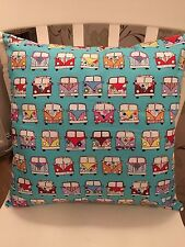 "VW CAMPER VANS Retro Vintage Aqua Blue Green Cotton 16"" Pillow Cushion Cover"