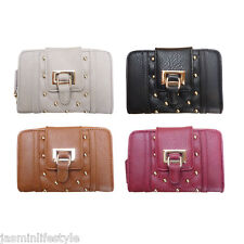 Ladies New DSUK London Gold Studs Buckle Designer Clutch Purse Hand Bag Wallet