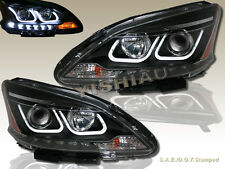 FOR 2013-2014 NISSAN SENTRA U-BAR STYLE HALO PROJECTOR LED HEADLIGHTS BLACK
