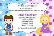 30 Princess & Prince Invitation Cards Kids Birthday Party Invites Personalized