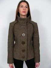 SOIA & KYO ARITZIA BROWN TWEED WOOL OVERSIZED BUTTON HIGH COLLAR JACKET COAT~L