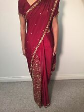 Traditional Indian Sari / Saree with Blouse - Maroon Color with Gold Bead Work