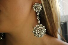 Oscar De La Renta Haute Couture Crystal Jeweled Drop Earrings BRIDAL PERFECT