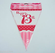 HAPPY 13TH BIRTHDAY PARTY DECORATIONS LARGE FLAG BUNTING BANNER PERFECTLY PINK