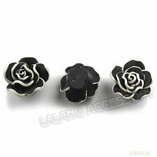 25x Charms FIMO Polymer Clay White Purfled Black Flower Flatback Spacer Beads L