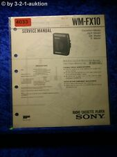 Sony Service Manual WM FX10 Cassette Player (#4033)