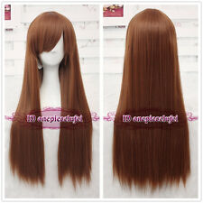 Dead or Alive Kasumi Long Pumpkin Brown Anime Cosplay Wig +free wig cap