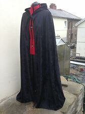 pointy hooded cloak black crushed velvet   more colours available