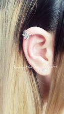 Rhinestone Flower Rose Ear Cuff For Cartilage Helix Earring Body Jewellery Tiny