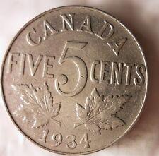 1934 CANADA 5 CENTS - King George V - FREE SHIPPING - Canada Bin #4/A