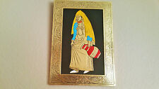 "Moroccan Beautiful Handmade Painting Engraved Copper Framed 8""x11"" Berber Lady"