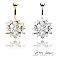 Gold / Silver Plated Cubic Zirconia Crystal Flower Belly Bar Navel Body Piercing