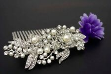 beautiful elegant wedding  bridal hair comb pearl and crystal 1409