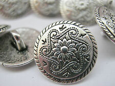 "6710 Silver Flower Metal Shank Sewing Buttons 15mm (5/8"") Jacket Coat Buttons"