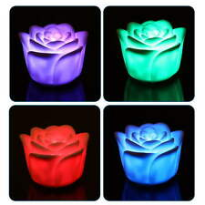 7 Colors Flameless Changing Rose Flower Candle Sound Sensor LED Night Light UE