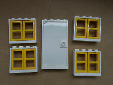 NEW LEGO WHITE DOOR & 4 WINDOWS WITH YELLOW SHUTTERS FRIENDS HOUSE CITY DISNEY