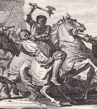 Gravure XVIIIe Siège Paris Défaite Othon Saint Empire Lothaire Hugues Capet 978