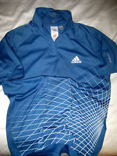 ADIDAS CLIMA LITE FORMOTION WEB DESIGN SLATE BLUE 1/4 ZIP GOLF TENNIS SHIRT- M