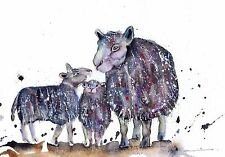 SHEEP LAMBS ORIGINAL WATERCOLOUR  PAINTING BY MOON HARES ART PAINTINGS & PRINTS
