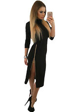 Black High Neck Zipped Slit Long Sleeve Midi Dress Size 8-10