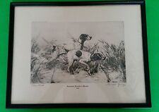 "Percival Rosseau Signed Etching 1945 ""Close Work"" Hunting Dogs"