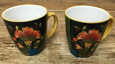 Arabian Flower 222 Fifth Floral 2 Cofee Mugs 290549 Black Green Orange CRAZING
