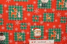 Rudolph and Friends Red Nosed Reindeer Christmas Cotton Fabric   BTY   (B3)