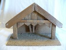 """Large Wood Nativity Manger Creche Stable Christmas  Made in Germany 15 3/4"""" wide"""