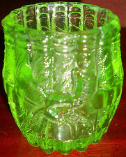 Green Vaseline Uranium glass toothpick holder stogie barrel whiskey canary neon