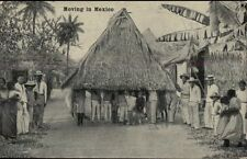 Moving a Thatch Hut in Mexico c1910 Postcard